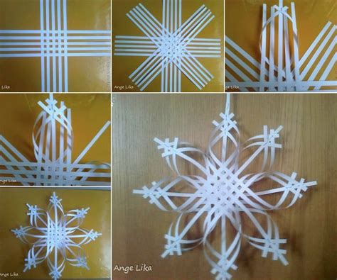 Paper Snowflake Crafts - wonderful diy colorful woven snowflake