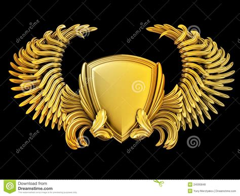 coat of arms with wings and shield royalty free stock