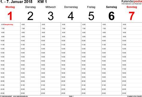 Kalender 2018 Mit Wochen Wochenkalender 2018 Als Excel Vorlagen Zum Ausdrucken