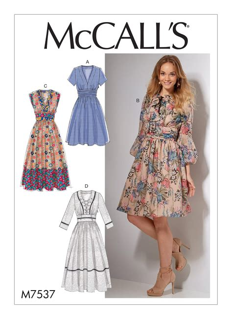 dress pattern reviews mccall s 7537 misses banded gathered waist dresses