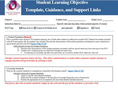 slo template ohio slo writing guidance practical school improvement