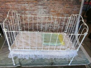 antique victorian white wrought iron baby crib  doll