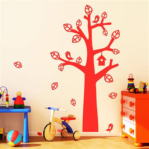 childrens wall stickers tree tree with bird house wall stickers by parkins interiors