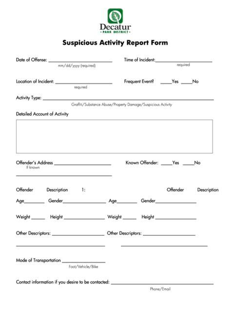 Fillable Suspicious Activity Report Form Decatur Park District Printable Pdf Download Suspicious Activity Report Template