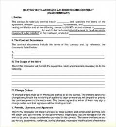 Hvac Service Contract Template by Service Agreement Template 8 Free Sles Exles