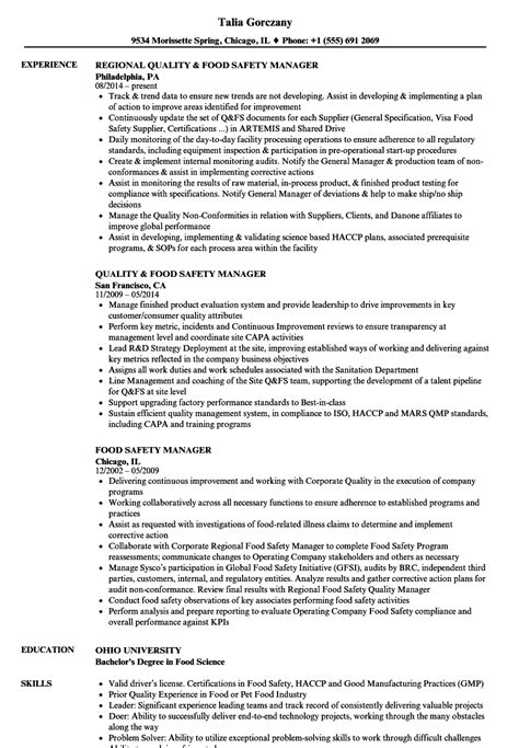 Safety Manager Resume by Food Safety Manager Resume Sles Velvet
