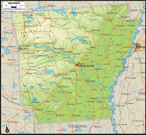 united states map showing arkansas physical map of arkansas ezilon maps hiking in