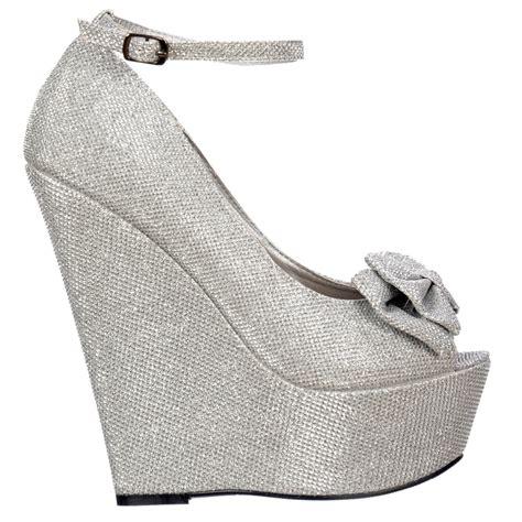 shoekandi wedge platform glitter shoes ankle peep