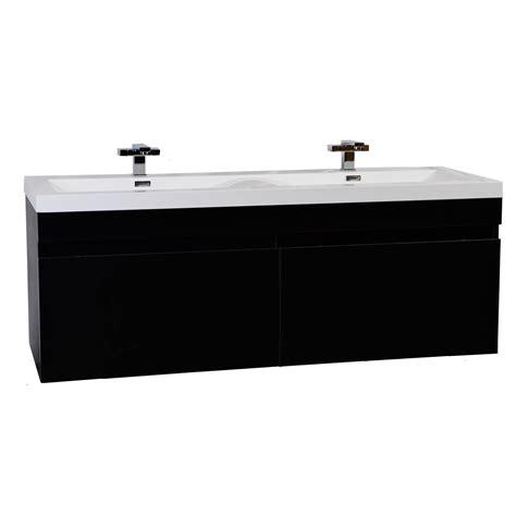 black bathroom vanity with 57 quot modern double vanity set with wavy sinks black