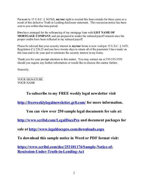Mortgage Rescission Letter sle tila notice of rescission