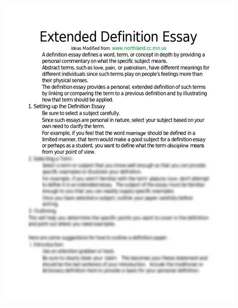 Exle Of A Definition Essay define an essay