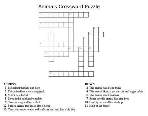 printable crossword puzzle animals kids crossword puzzles new calendar template site