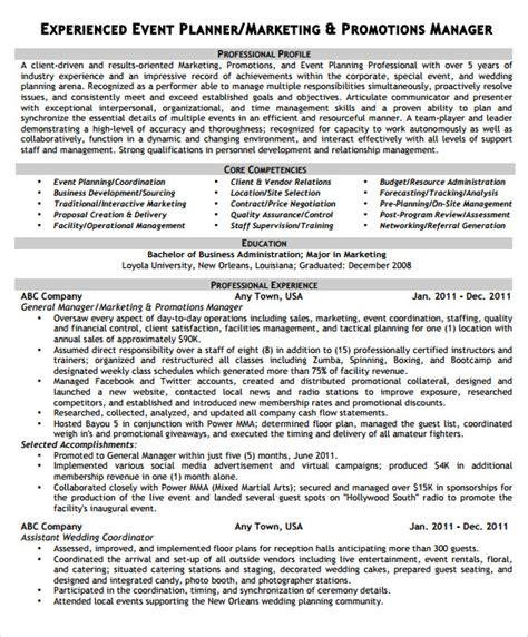 Event Planner Resume Template by Sle Event Planner Resume 8 Documents In Pdf