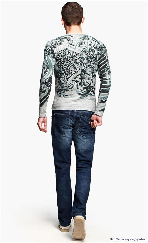 mens graphic tee long sleeve t shirts japan ukiyoe tattoo