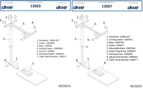 Replacement Parts For Table Non Tilt Overbed Table Replacement Parts Parts For 13003