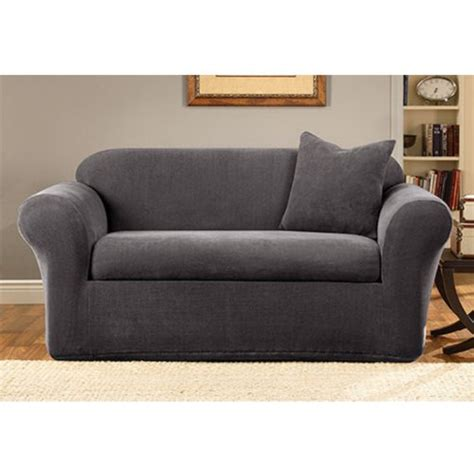 gray couch slipcover sure fit stretch metro 2 piece sofa slipcover gray cheap
