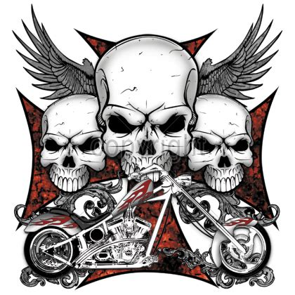 biker skull and cross battleworntees com