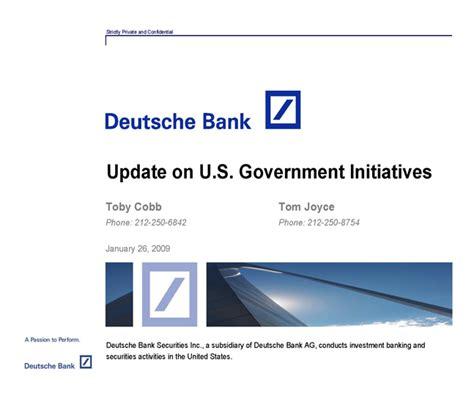 deutsche bank securities deutsche bank update on u s government initiatives