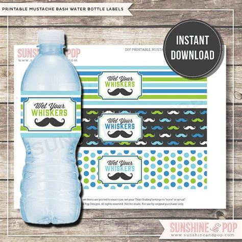 sabrina instan by greenlabel instant mustache water bottle label
