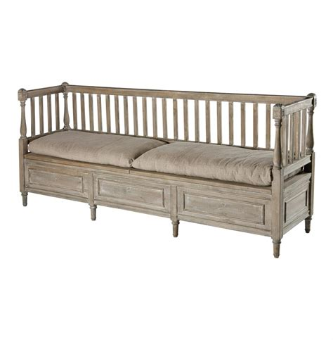 sofa bench damita french country weathered gray high back storage