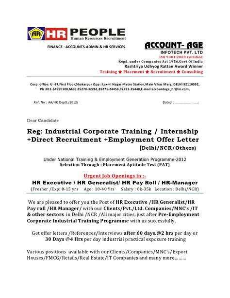 appointment letter format for hr assistant offer letter hr