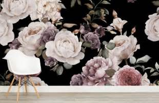 Purple Wall Mural purple and pink dark floral wall mural murals wallpaper