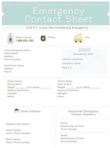 printable emergency contact form for babysitters the
