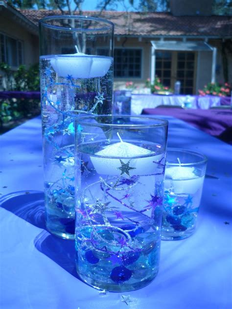 purple blue centerpiece stars starry night wedding