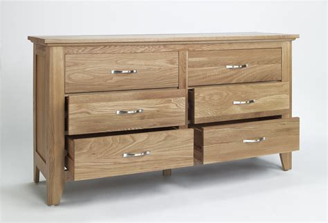 compton solid oak furniture low bedroom chest of drawers