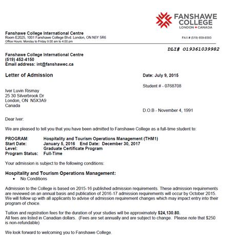 Offer Letter Of Fanshawe College Fundraiser By Iver Rismay Iver S College Tuition Fund