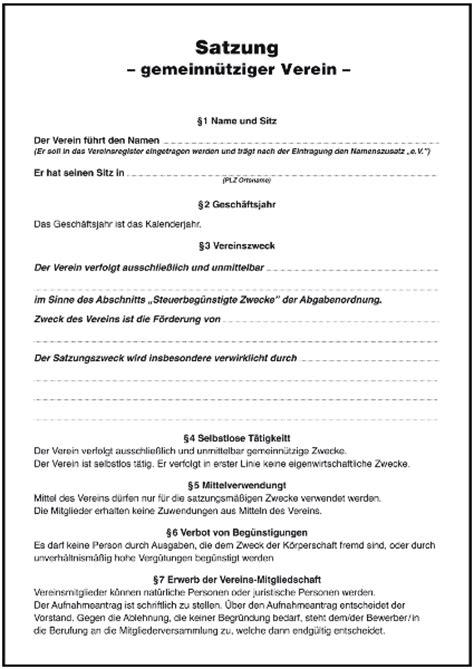 vorlage vereinssatzung b formulare gratis