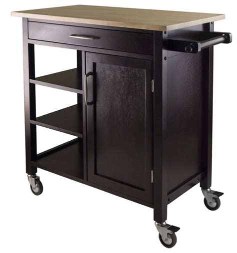 Kitchen Coffee Cart by Wood Top Mobile Kitchen Cart Espresso Finish