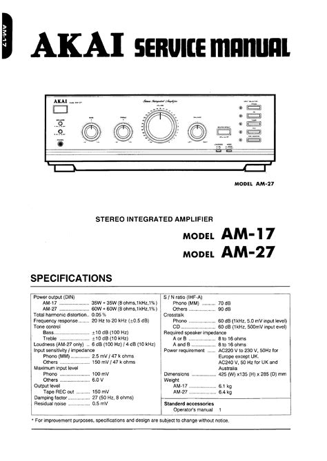 Akai Am 17 Service Manual Immediate Download