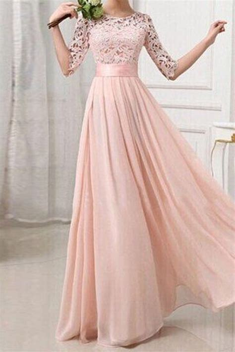 Lace Patchwork Prom Dress blush pink patchwork lace pleated half sleeve chiffon maxi
