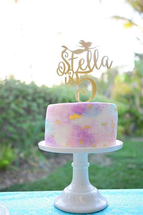Watercolor Mermaid 5th Birthday   Smash Cake