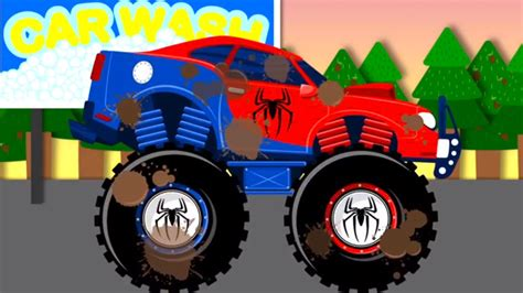 monster trucks for kids video spiderman car wash monster truck videos for children