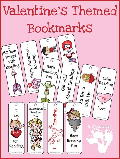 valentines bookmarks valentines themed bookmarks 3 dinosaurs