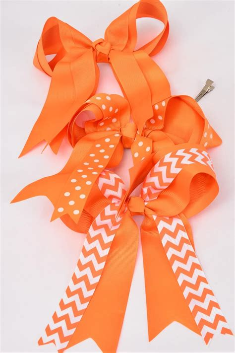 Jumbo Future Polka hair bow jumbo orange chevron polka dots mix