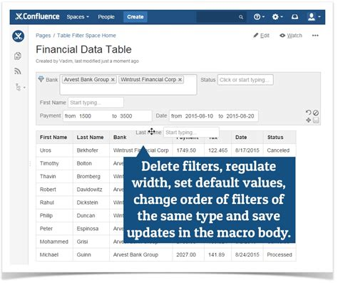Confluence Table Column Width by Table Filter 3 1 0 Manage Filters In The Page View Mode