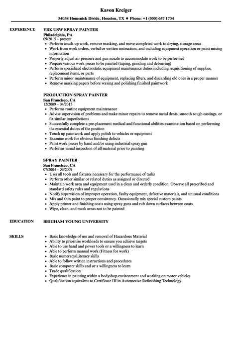 Spray Painter Tester Sle Resume by Spray Painter Resume Sles Velvet