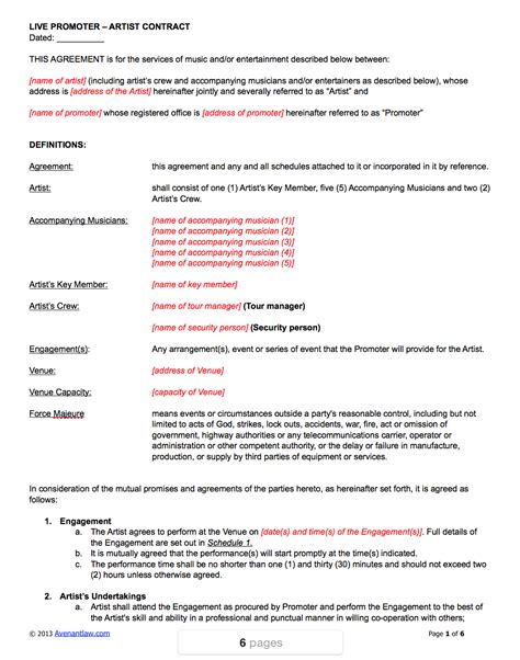 Live Promoter Artist Contract Template Artist Booking Contract Template