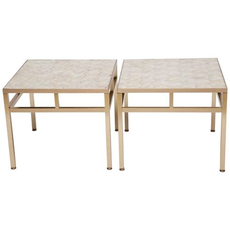 Capiz Table L by Pair Of Brass And Capiz Shell Side Tables Attributed To