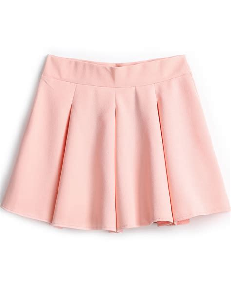 pink simple design pleated skirt shein sheinside