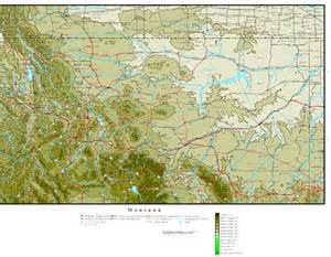 elevation map of montana elevation map