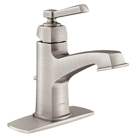 single hole bathroom faucet brushed nickel shop moen boardwalk spot resist brushed nickel 1 handle