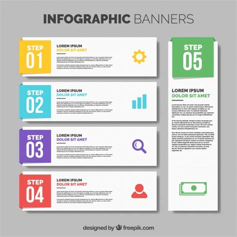 design banner freepik collection of five infographic banners with color details