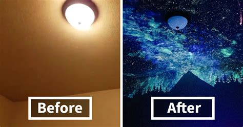 galaxy room paint creates glow in the galaxy painting for boy who couldn t fall asleep here s his