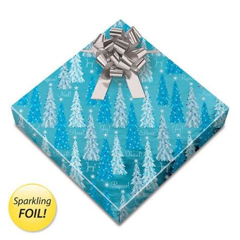 noel trees foil rolled gift wrap current christmas