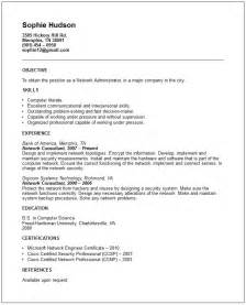 network administrator resume exle free templates