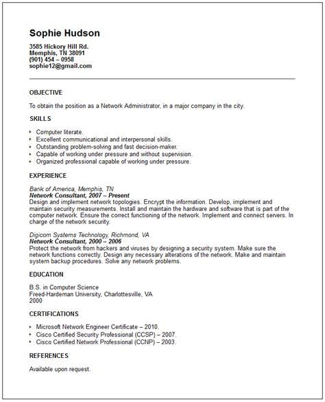 resume certification network administrator resume exle free templates